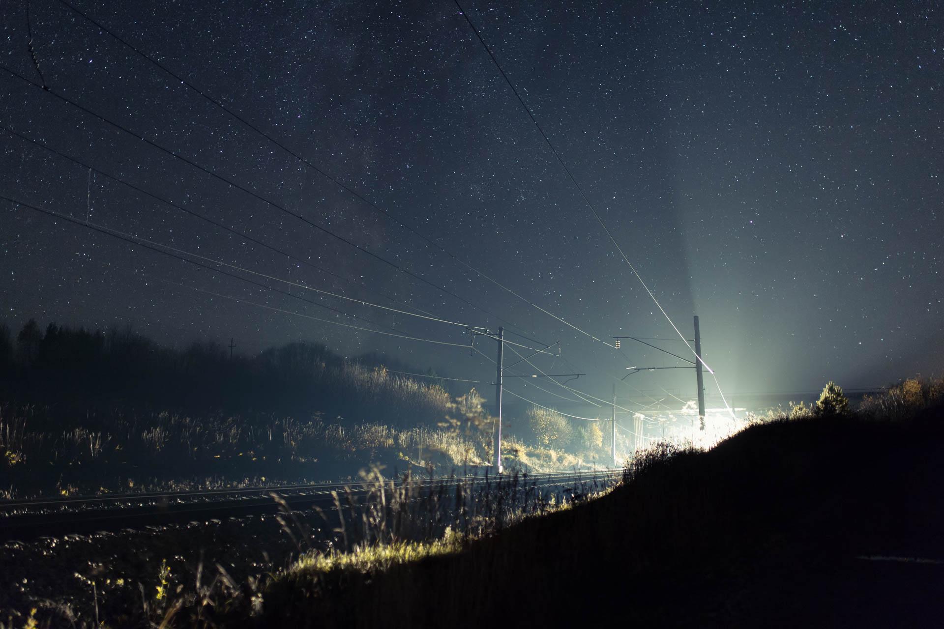 night train starry sky